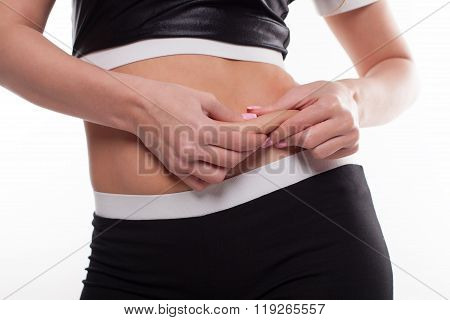 Woman Showing Her Fat Body Healthy Lifestyles Concept