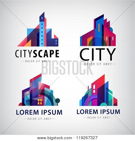 Vector set of city scape building property logos, town, skyscrapers
