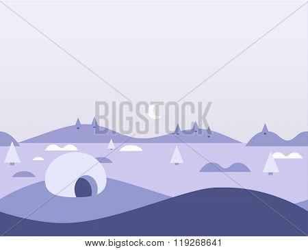 Seamless Cartoon Nature Arctic Landscape, Vector Illustration