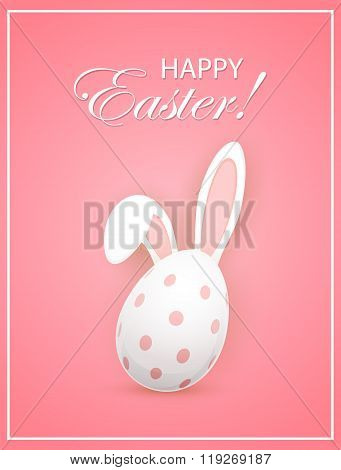 Rabbit Ears And Easter Egg On Pink Background