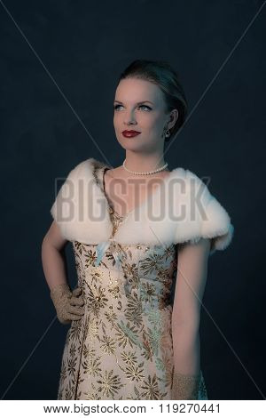 Vintage 50S Posh Fashion Woman In Gold Dress.