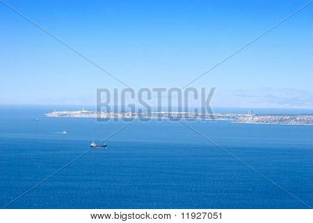 View from Dardanelles in Turkey