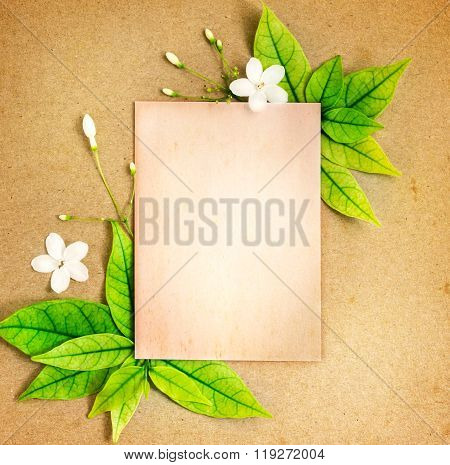 The Old Blank Paper Sheet With Fresh Spring  Green Leafs Border Frame On Brown Recycle Paper Backgro