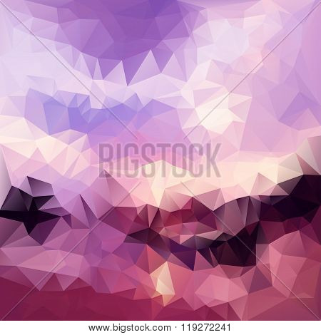 Polygonal Mosaic Abstract Geometry Background Landscape In Viole