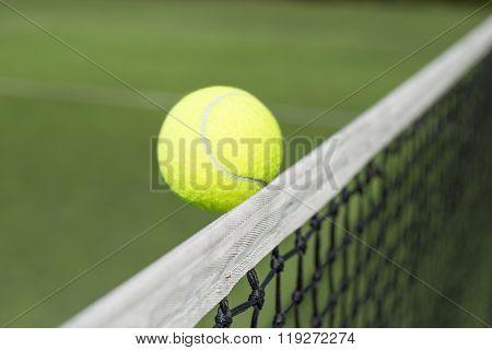 Tennis court and tennis ball