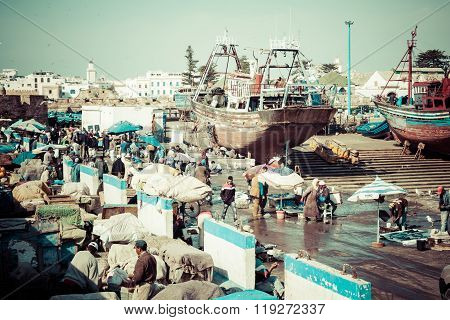 Essaouira, Morocco - May 4, 2013: Fishing Boat In The Port On The Coast Of Essouira, Morocco. The Ci