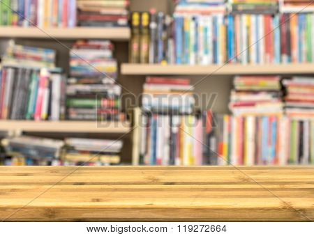 Empty Wood Table Top For Product Disply With Blur Book Shelf For Back To School Concept