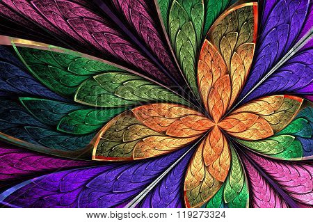 Beautiful Multicolored Fractal Flower Or Butterfly In Stained Glass Window Style. Computer Generated