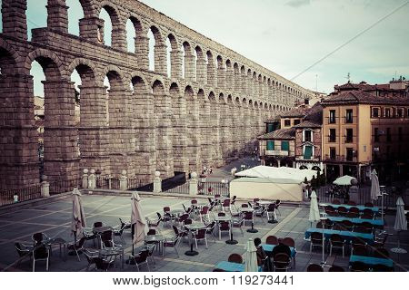Segovia, Spain -june 21, 2014:the Famous Ancient Aqueduct In Segovia, Castilla Y Leon, Spain.