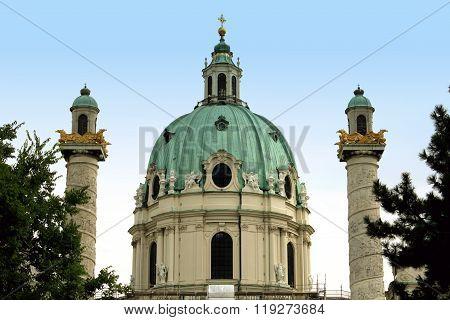 St. Charles's Church (karlskirche) In Vienna, Austria At Sunrise