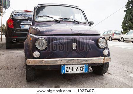 Old Fiat Nuova 500 City Car, Closeup