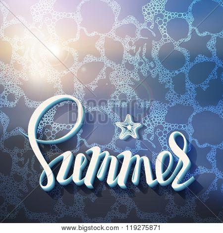 Artistic inscription on the background of summer sea foam