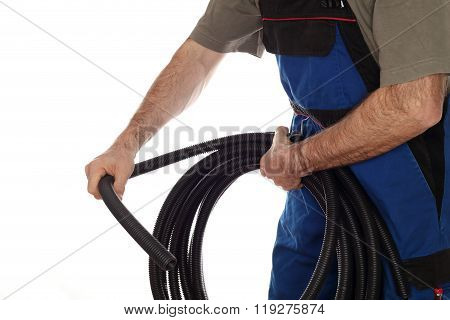 Worker With Electrical Pipe