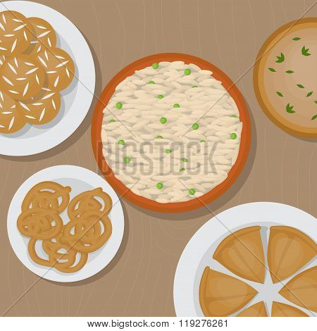 Vedic Indian cuisine, set of vegetarian healthy food top view