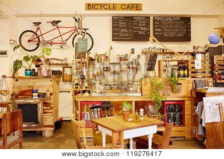 Interior Of A Trendy Coffee Shop Called The Bicycle Cafe