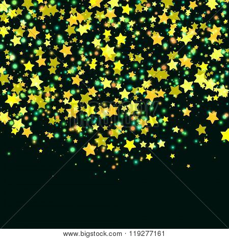 Falling Stars. Gold Stars. Abstract Background. Vector Illustration.