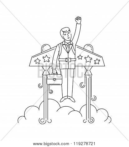 Businessman flying on the jetpack to success. Line style vector illustration.