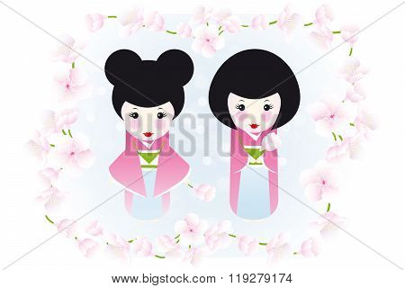 Kokeshi Dolls And Cherry Blossoms