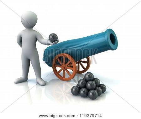 Illustration Of Man And Artillery Gun