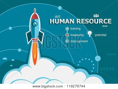 Human Resource Design And Concept Background With Rocket.