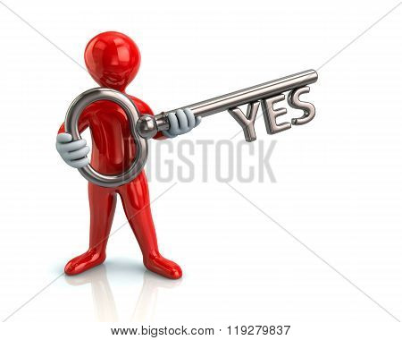 Red Man And Silver Key With Yes