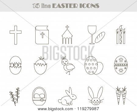 Black and white line Easter icons. Vector, illustration, clip art