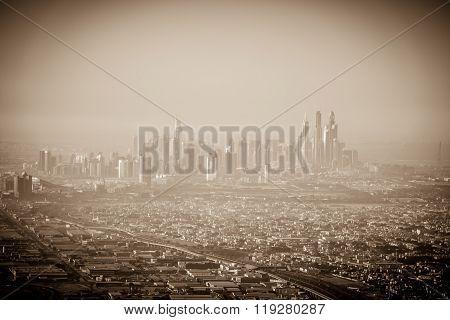 Dubai Downtown Morning Scene. Top View