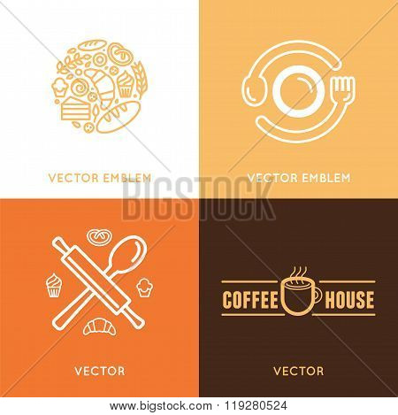 Vector Logo Design Element With Icons In Trendy Linear Icons