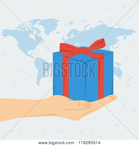 Womans hand with gift box