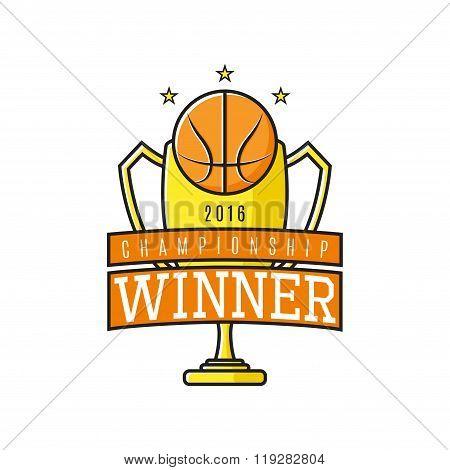 Vector Label Of Basketball Winner