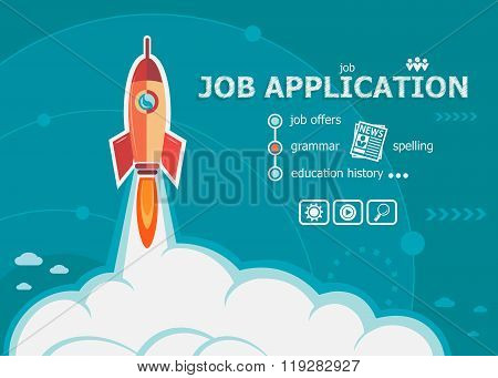 Job Application Design And Concept Background With Rocket.