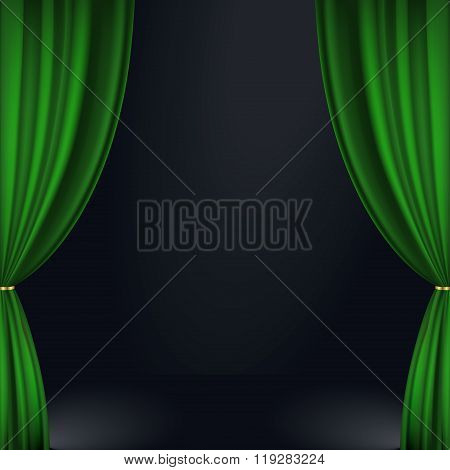 Stage Green Curtain