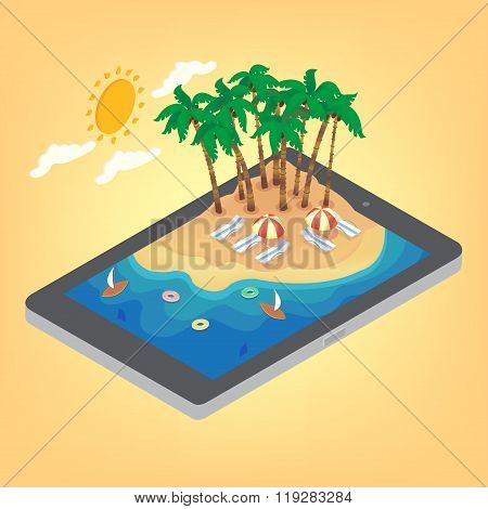 Summertime Tropical Vacation Isometric Concept. Exotic Island With Palm Trees On Smartphone