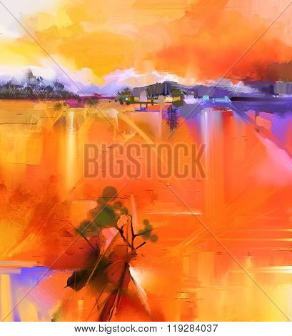 Abstract Colorful Yellow And Red Oil Painting Landscape