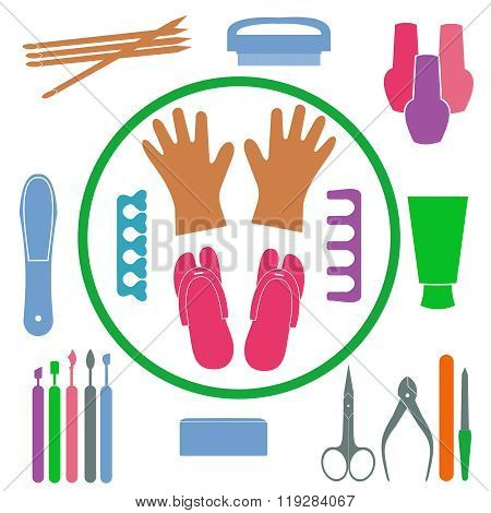 Vector Set Of Manicure Tools, Cosmetics, Nail Polish, Hands And Spa Manicure Logo. Eps 10