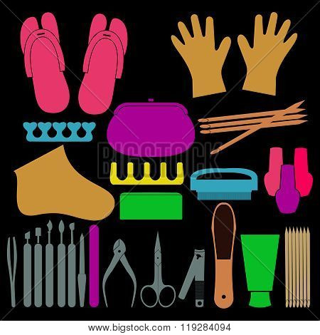 Vector Set Of Manicure Tools, Cosmetics, Nail Polish, Hands And Spa Manicure Logo. Eps 10.beauty