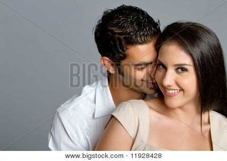 Young happy multiracial couple in love