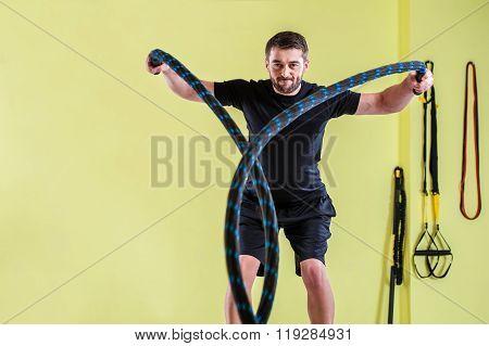 Fitness battling ropes at gym
