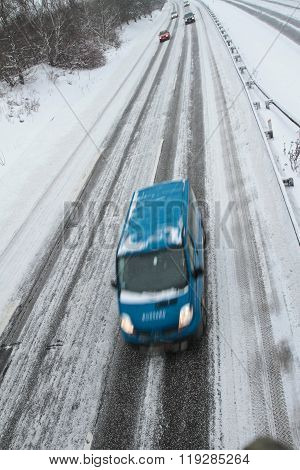 Winter Traffic On The Motorway