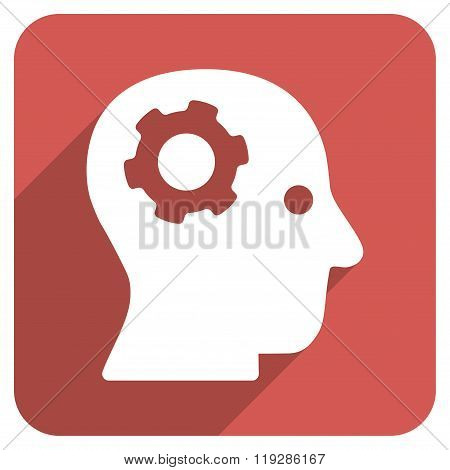 Intellect Mechanism Flat Rounded Square Icon with Long Shadow