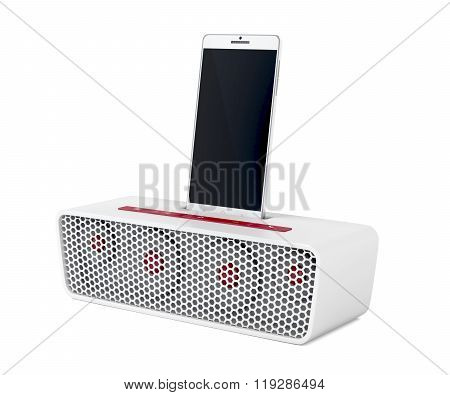 Docking Station Speaker And Smartphone