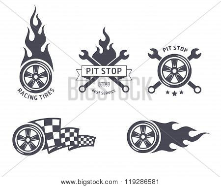 Racing tires and service vector emblems