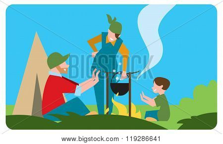 Family of tourist preparing a meal outdoors