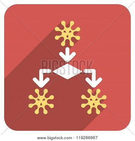 Virus Reproduction Flat Rounded Square Icon with Long Shadow