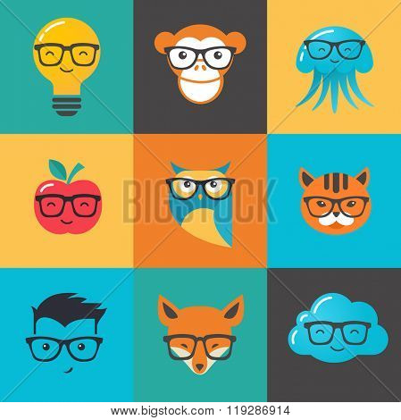 Geek, nerd, smart hipster icons - animals and symbols