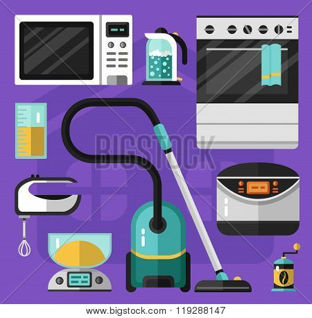 Icons set of home appliance