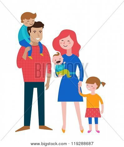Happy family, making fun, couple with kids