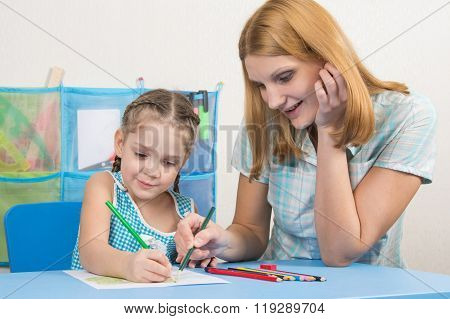 Five-year Girl And Young Mother Together Paint A Picture With Crayons