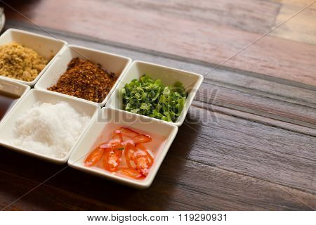 Set Of Thailand Condiment Seasoning For Rice Gruel
