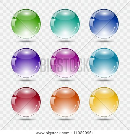 Set of multicolored glass spheres